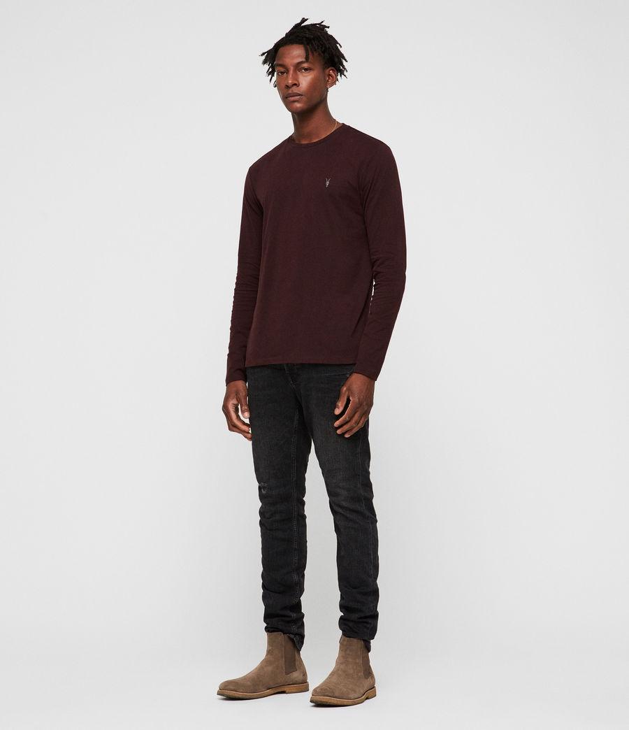 Herren Brace Tonic Langarm T-Shirt (deep_red) - Image 3
