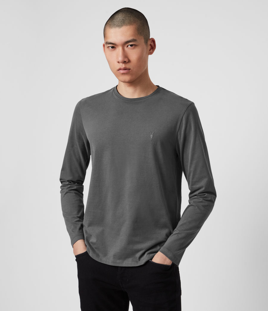 Hombres Brace Long Sleeve Tonic Crew T-Shirt (alp_grey) - Image 1