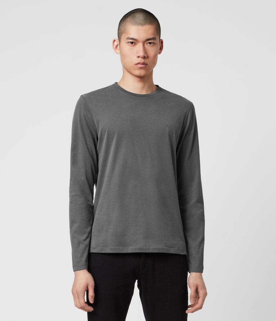 Hombres Brace Long Sleeve Tonic Crew T-Shirt (alp_grey) - Image 3
