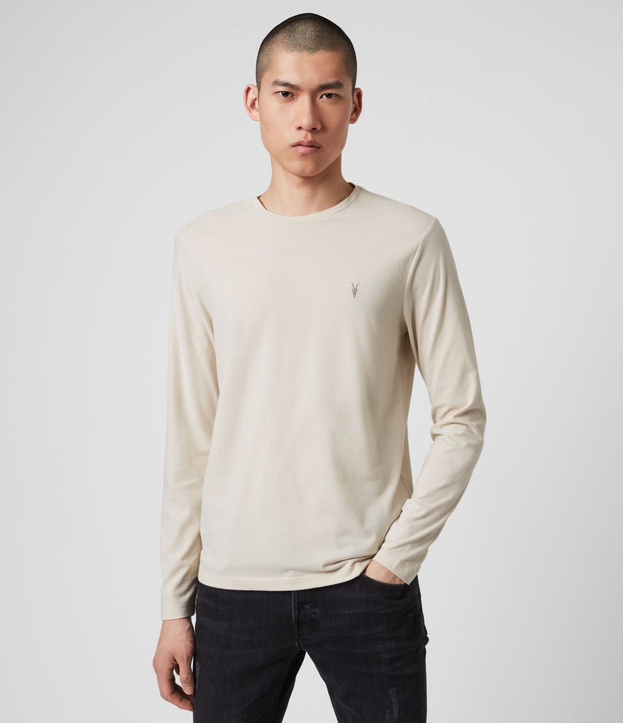 Mens Brace Long Sleeve Tonic Crew T-Shirt (pebble_ecru_marl) - Image 1