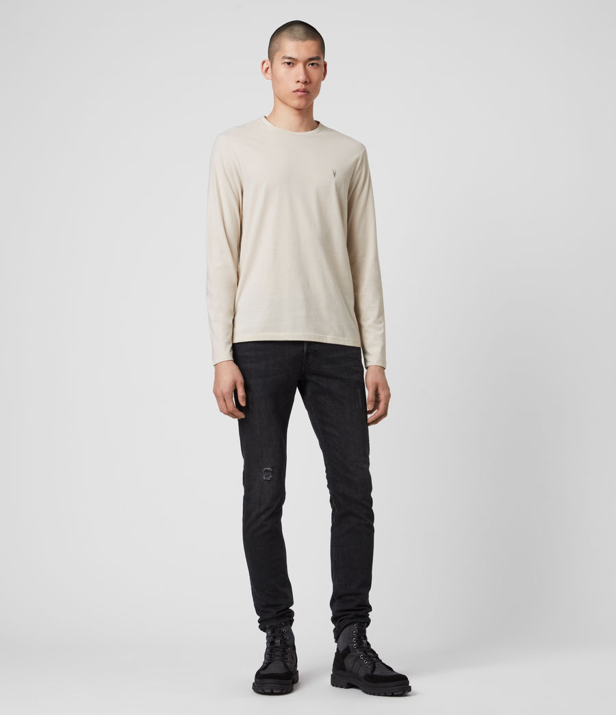 Men's Brace Long Sleeve Tonic Crew T-Shirt (pebble_ecru_marl) - Image 3