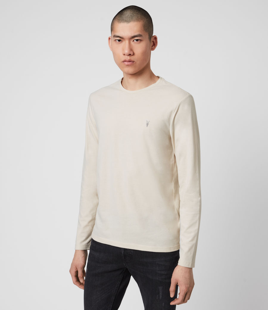 Mens Brace Long Sleeve Tonic Crew T-Shirt (pebble_ecru_marl) - Image 4