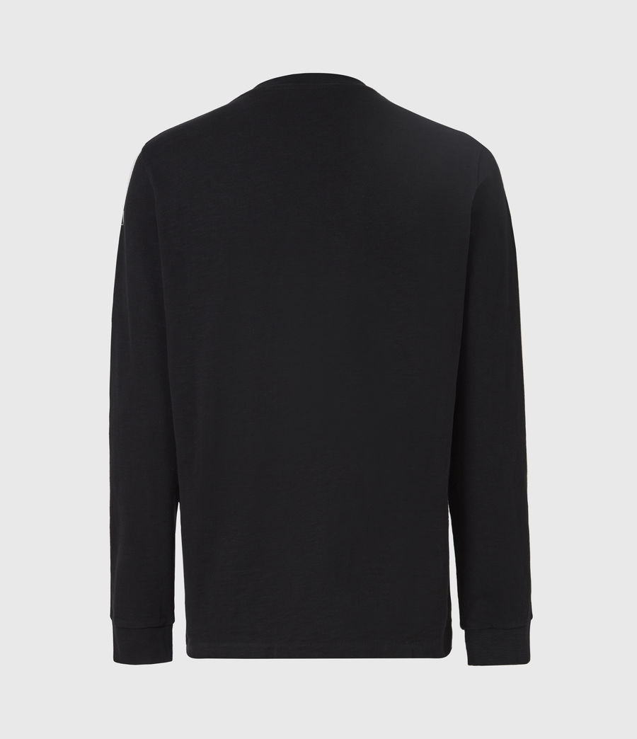 Mens Seri Long Sleeve Crew T-Shirt (jet_black_white) - Image 3