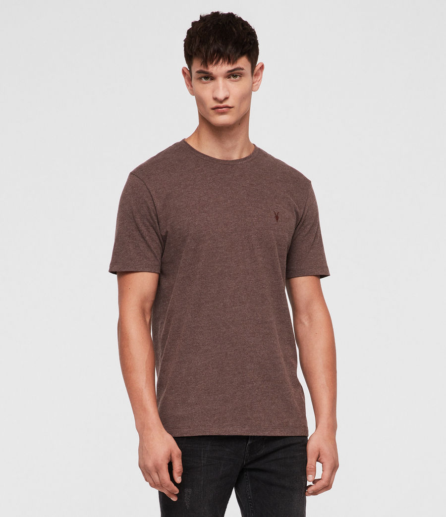 Hombres Brace Tonic Crew T-Shirt (oxblood_marl) - Image 1