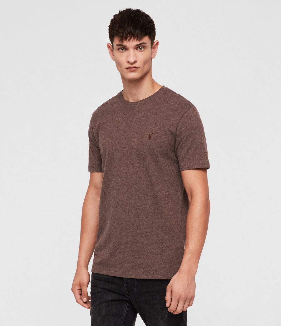 Hombres Brace Tonic Crew T-Shirt (oxblood_marl) - Image 3
