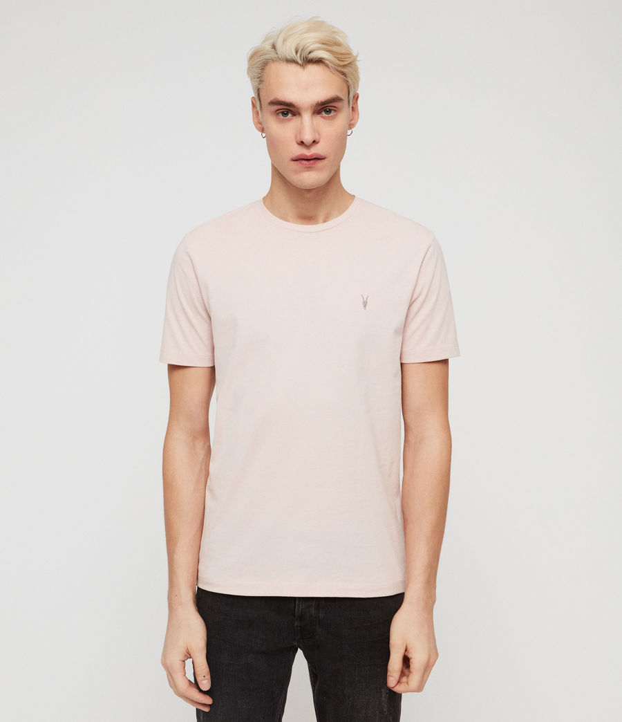 Mens Brace Tonic Short Sleeve Crew T-Shirt (bleached_pink) - Image 1