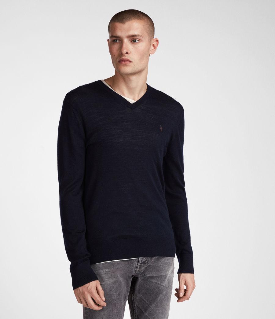 Herren Mode Merino V-Ausschnitt Pullover (ink_navy) - Image 1