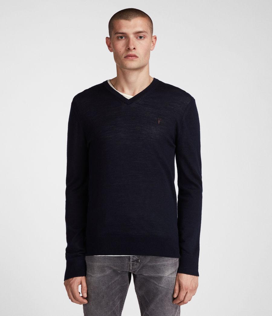 Herren Mode Merino V-Ausschnitt Pullover (ink_navy) - Image 3