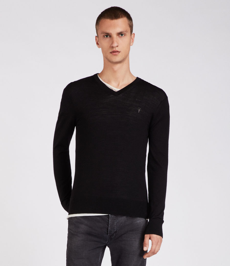 Herren Mode Merino V Neck Jumper (black) - Image 1