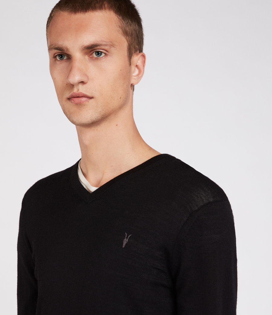 Herren Mode Merino V Neck Jumper (black) - Image 2