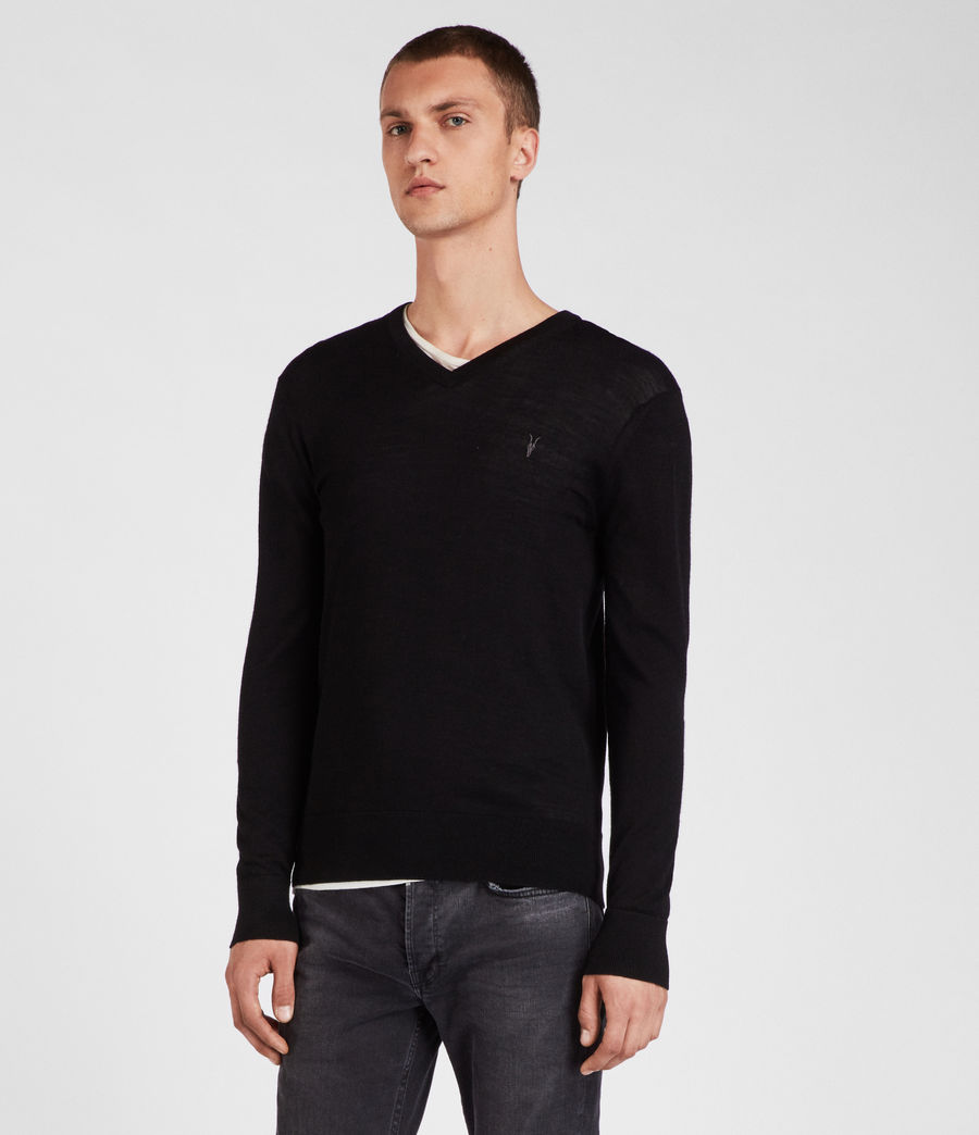 Herren Mode Merino V Neck Jumper (black) - Image 3