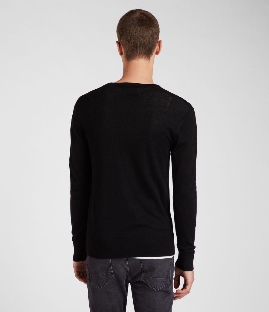 Herren Mode Merino V Neck Jumper (black) - Image 4