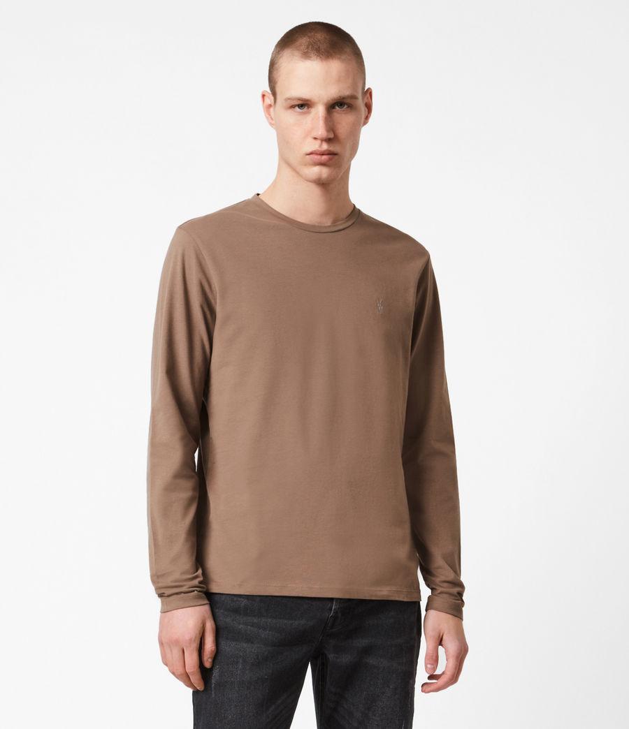 Mens Brace Long Sleeve Crew T-Shirt (dusky_brown) - Image 1