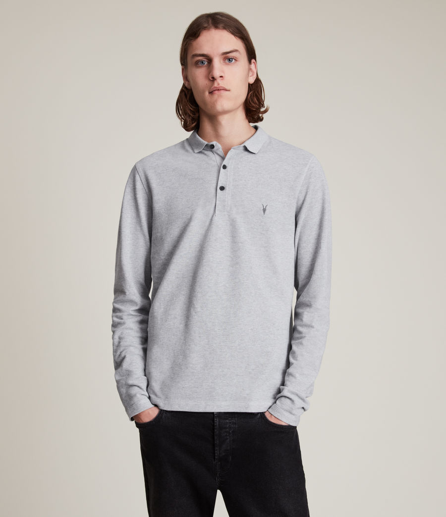 Men's Reform Long Sleeve Polo Shirt (grey_marl) - Image 1