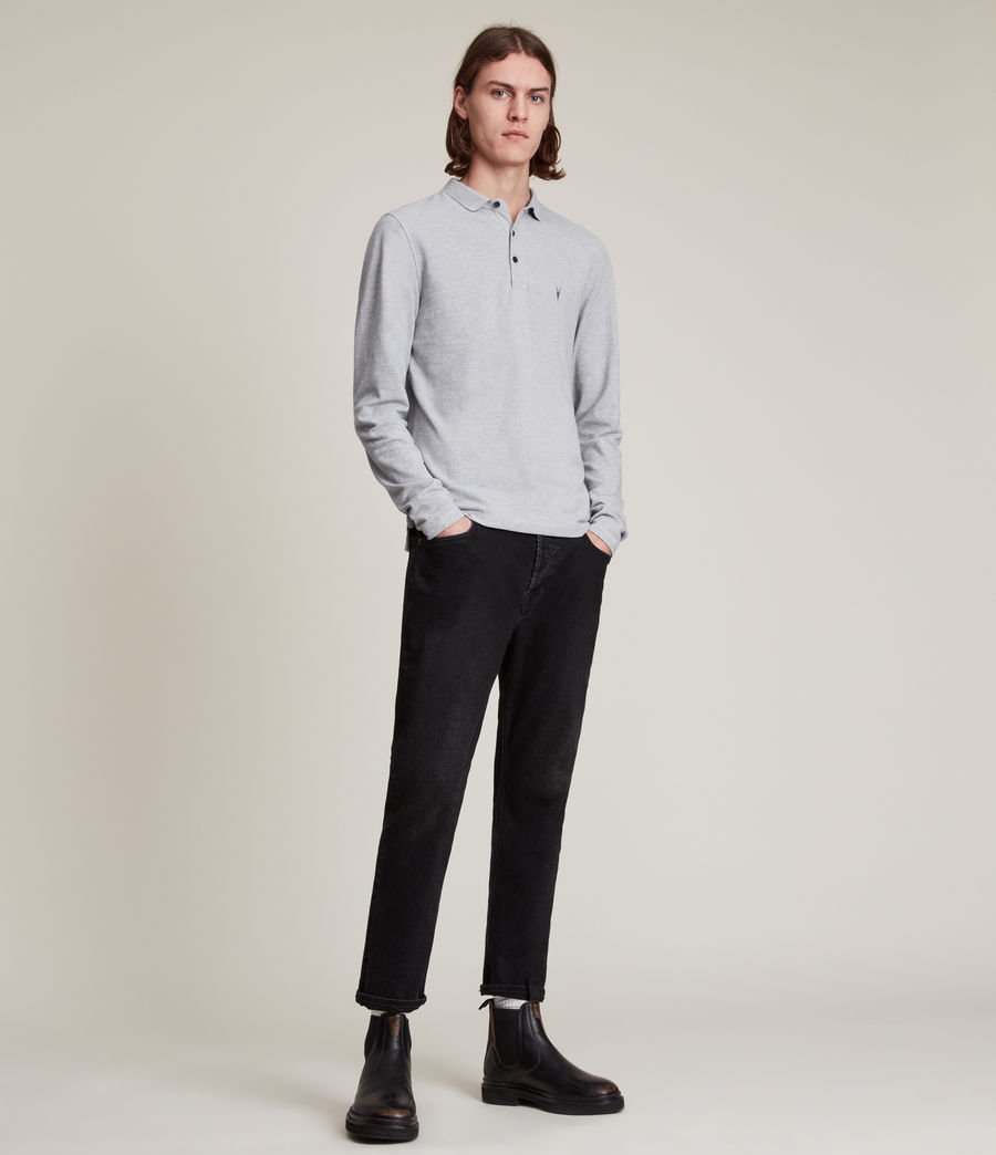 Men's Reform Long Sleeve Polo Shirt (grey_marl) - Image 3