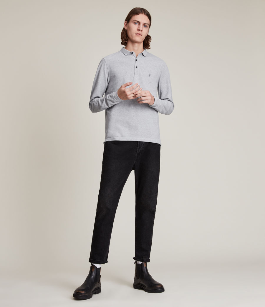 Men's Reform Long Sleeve Polo Shirt (grey_marl) - Image 4