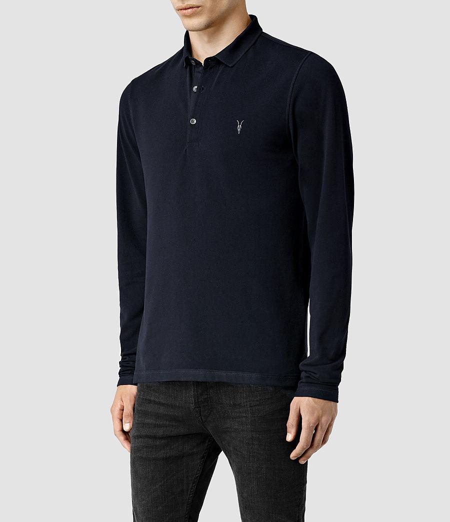 Mens Reform Long Sleeve Polo Shirt (ink) - Image 2