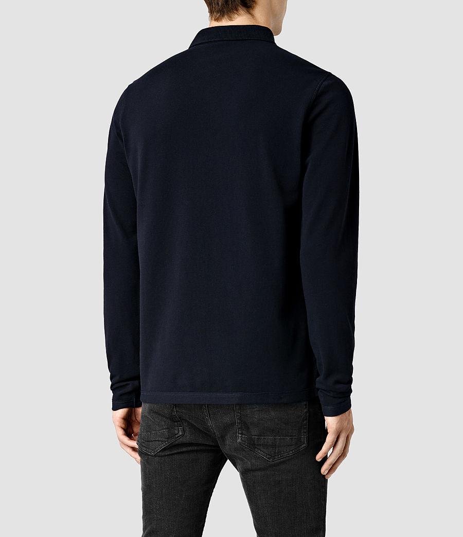 Mens Reform Long Sleeve Polo Shirt (ink) - Image 3