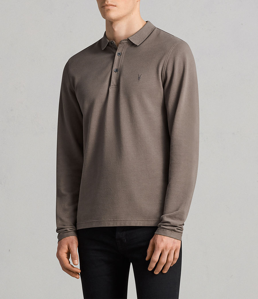 Men's Reform Long Sleeve Polo Shirt (olive_green) - Image 3