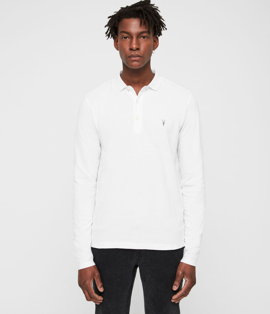 Mens Reform Long Sleeve Polo Shirt (optic_white) - Image 1