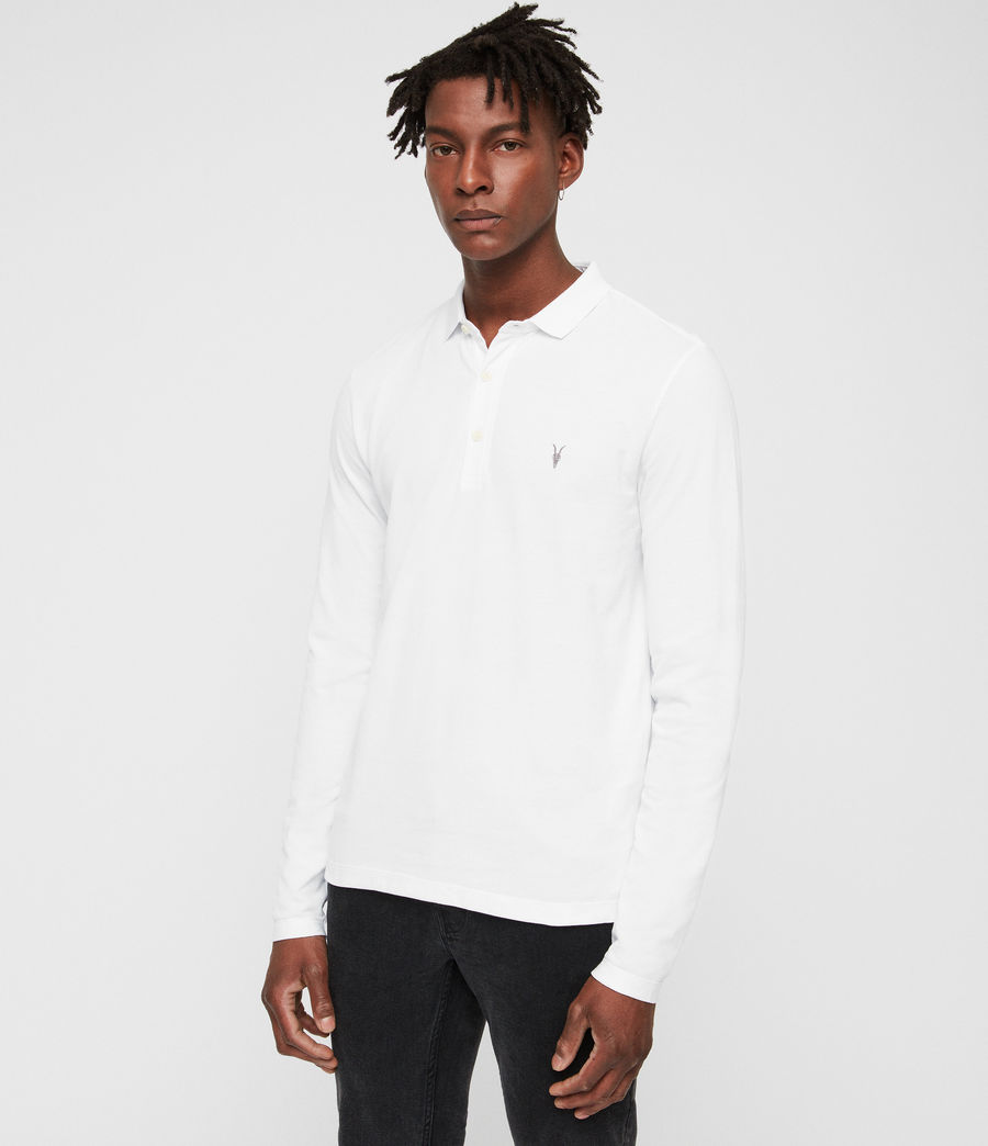 Mens Reform Long Sleeve Polo Shirt (optic_white) - Image 3