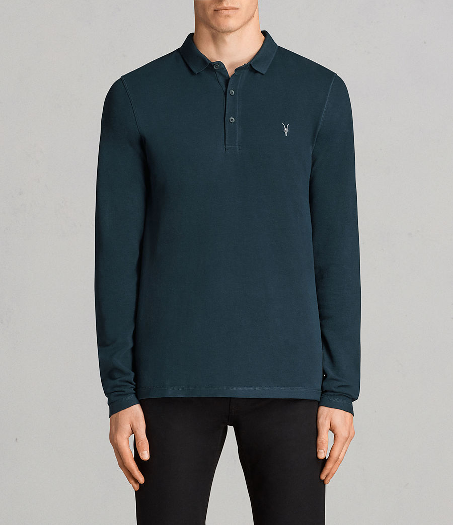 Men's Reform Long Sleeve Polo Shirt (oil_blue) - Image 1