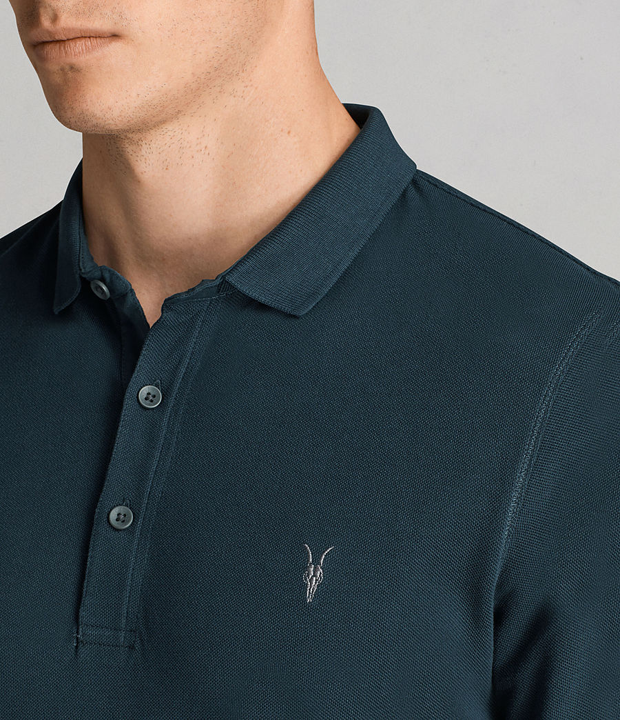 Men's Reform Long Sleeve Polo Shirt (oil_blue) - Image 2