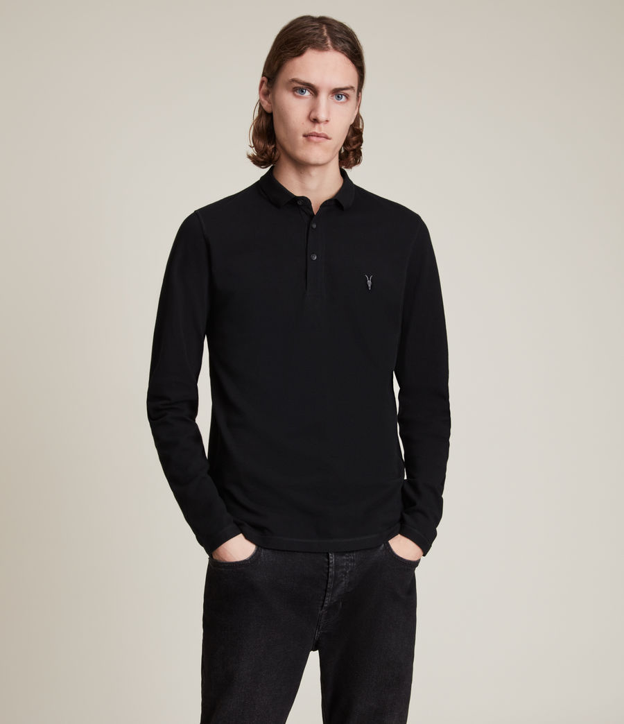 Mens Reform Long Sleeve Polo Shirt (black) - Image 5