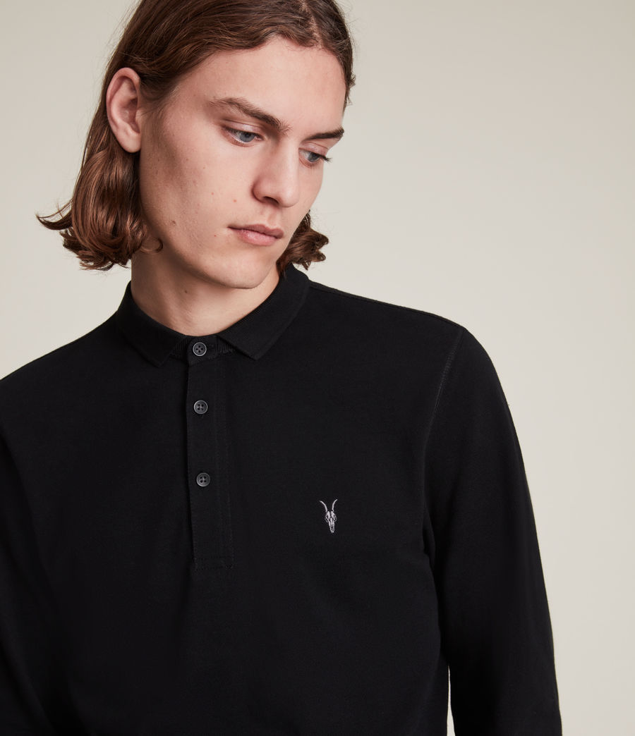 Mens Reform Long Sleeve Polo Shirt (black) - Image 1
