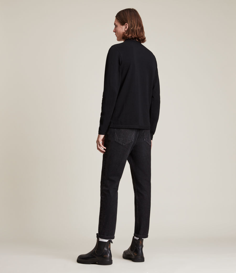 Mens Reform Long Sleeve Polo Shirt (black) - Image 3