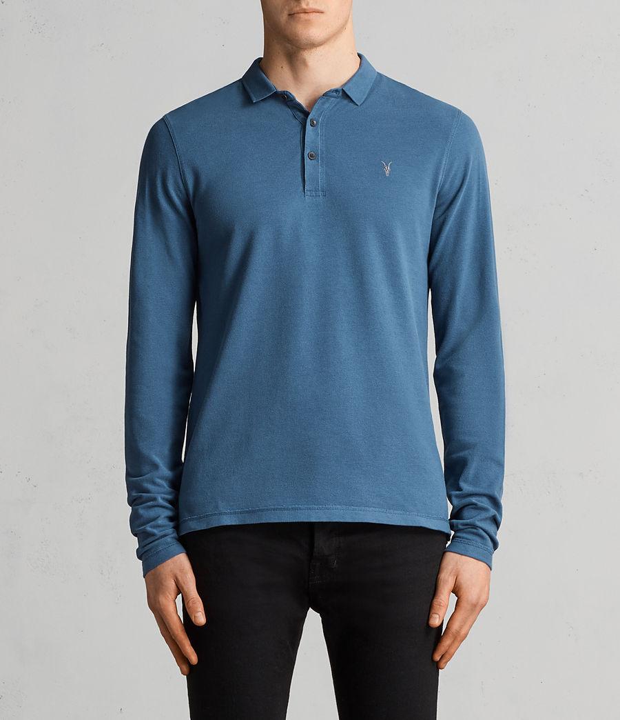 Herren Reform Langärmliges Polohemd (aqua_blue) - Image 1