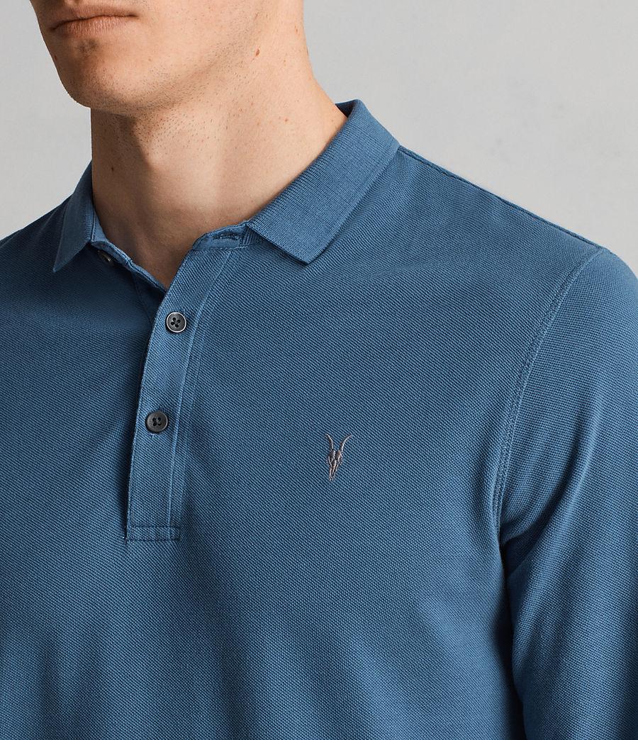 Herren Reform Langärmliges Polohemd (aqua_blue) - Image 2