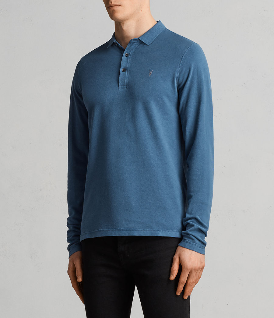 Herren Reform Langärmliges Polohemd (aqua_blue) - Image 3