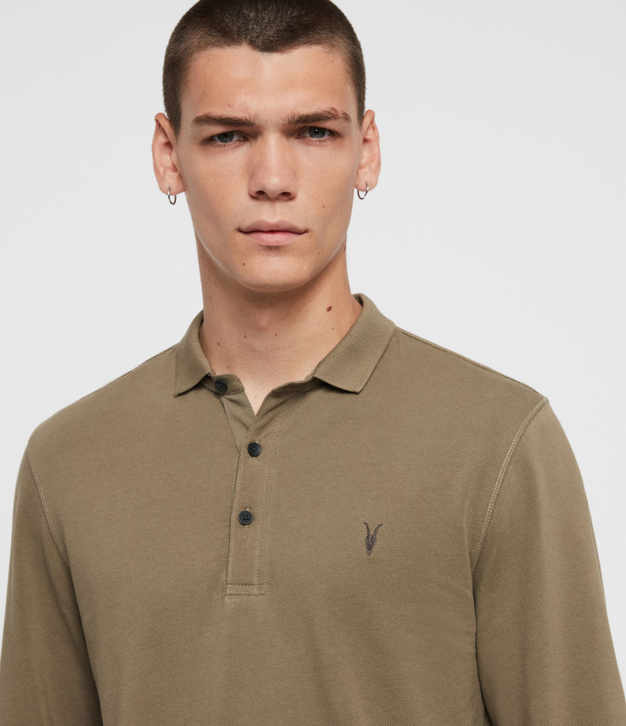 Mens Reform Long Sleeve Polo Shirt (beech_green) - Image 2