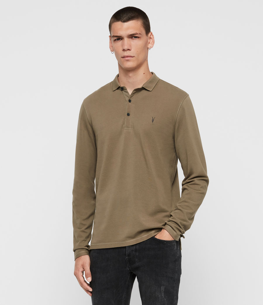Mens Reform Long Sleeve Polo Shirt (beech_green) - Image 3