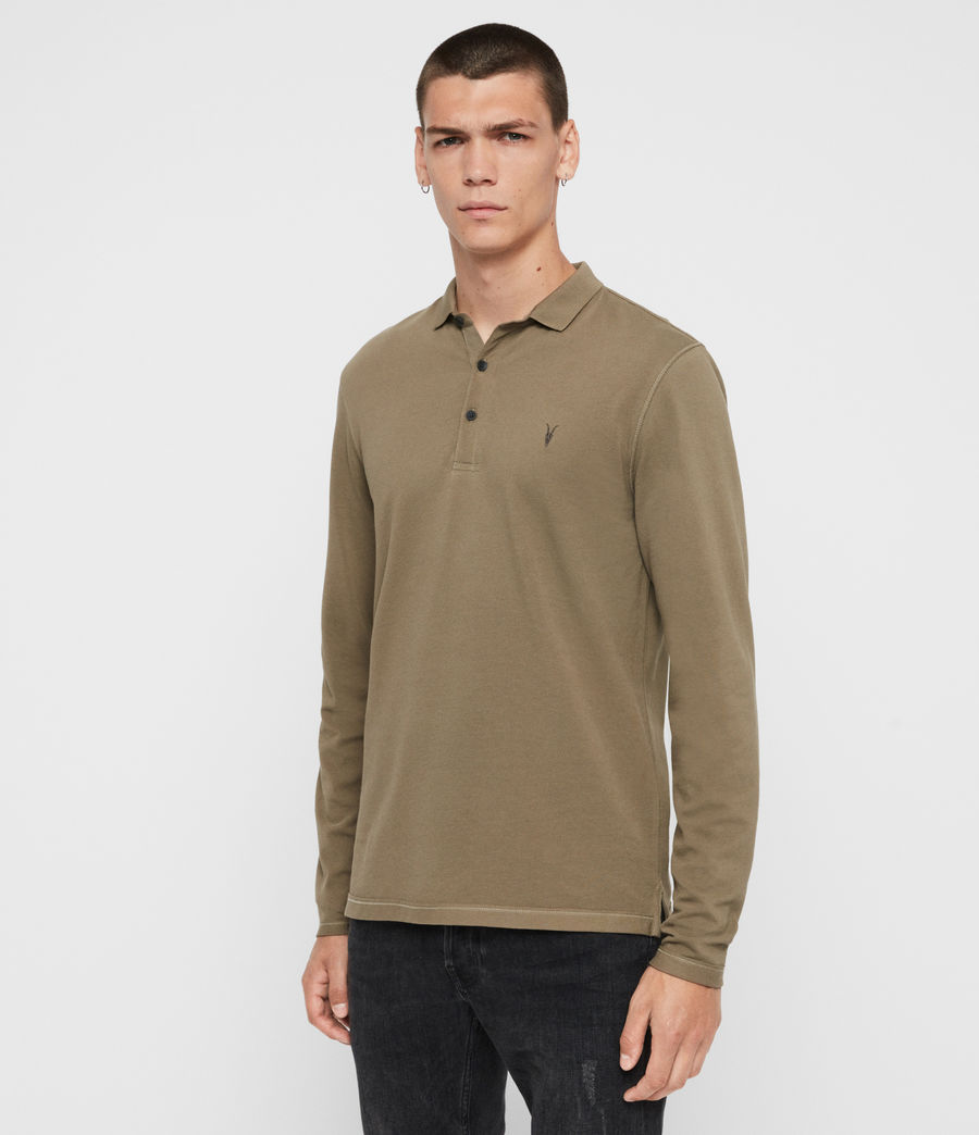 Men's Reform Long Sleeve Polo Shirt (beech_green) - Image 4