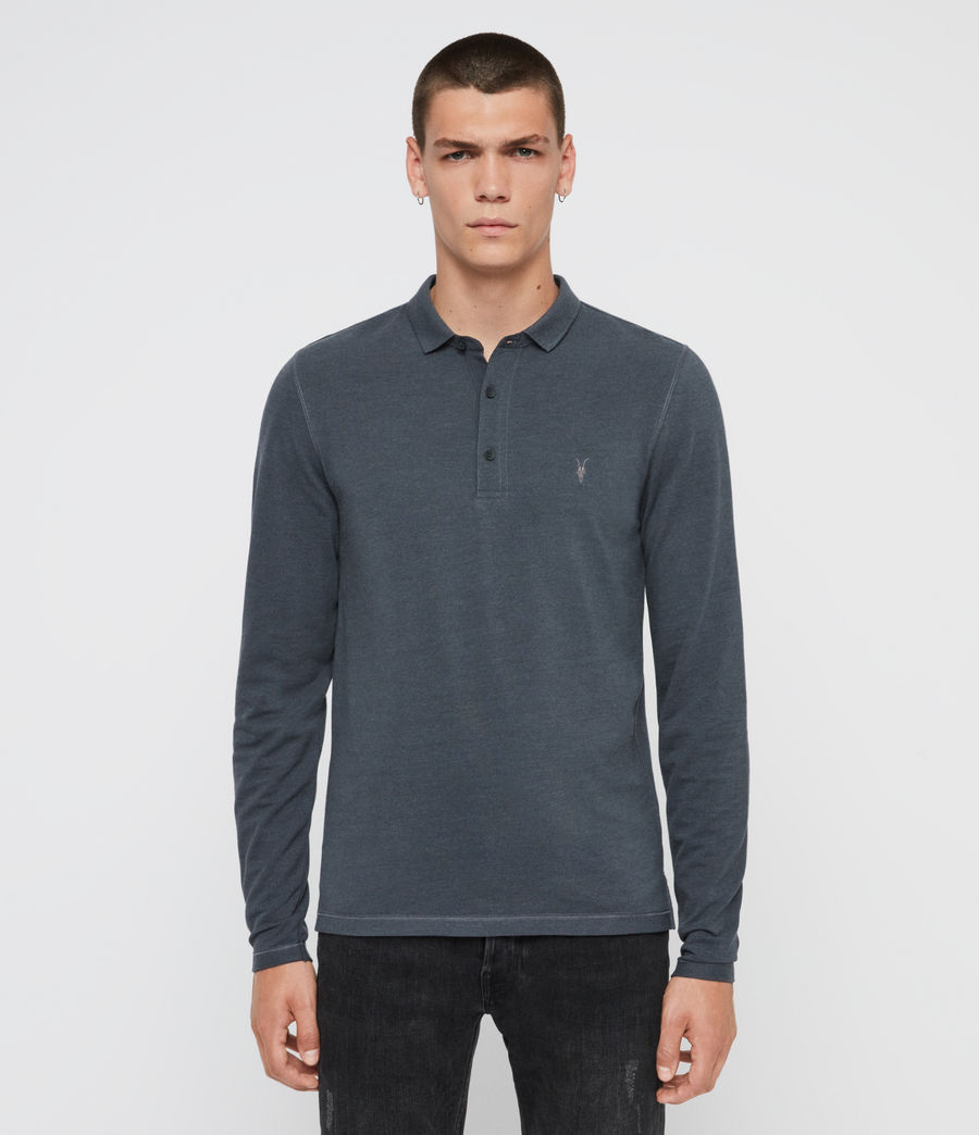 Hommes Reform Long Sleeve Polo Shirt (pier_blue_marl) - Image 1