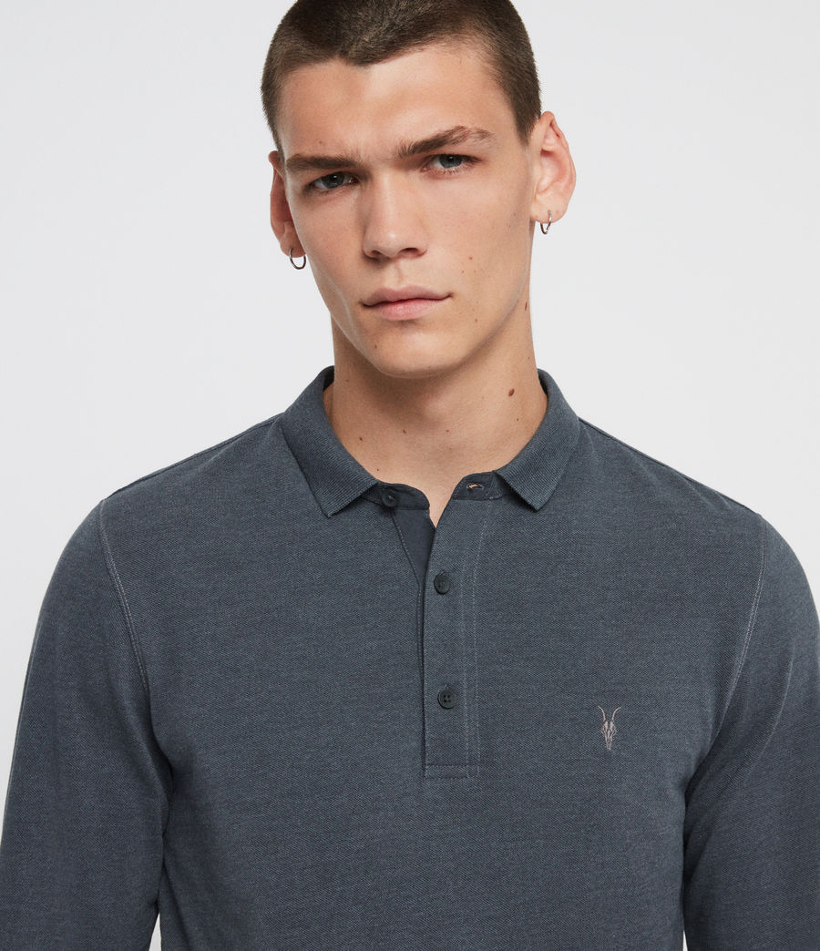 Men's Reform Long Sleeve Polo Shirt (pier_blue_marl) - Image 2