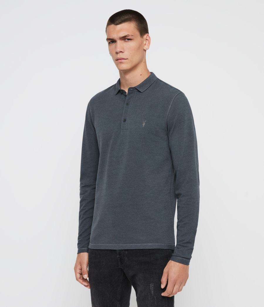Hommes Reform Long Sleeve Polo Shirt (pier_blue_marl) - Image 3