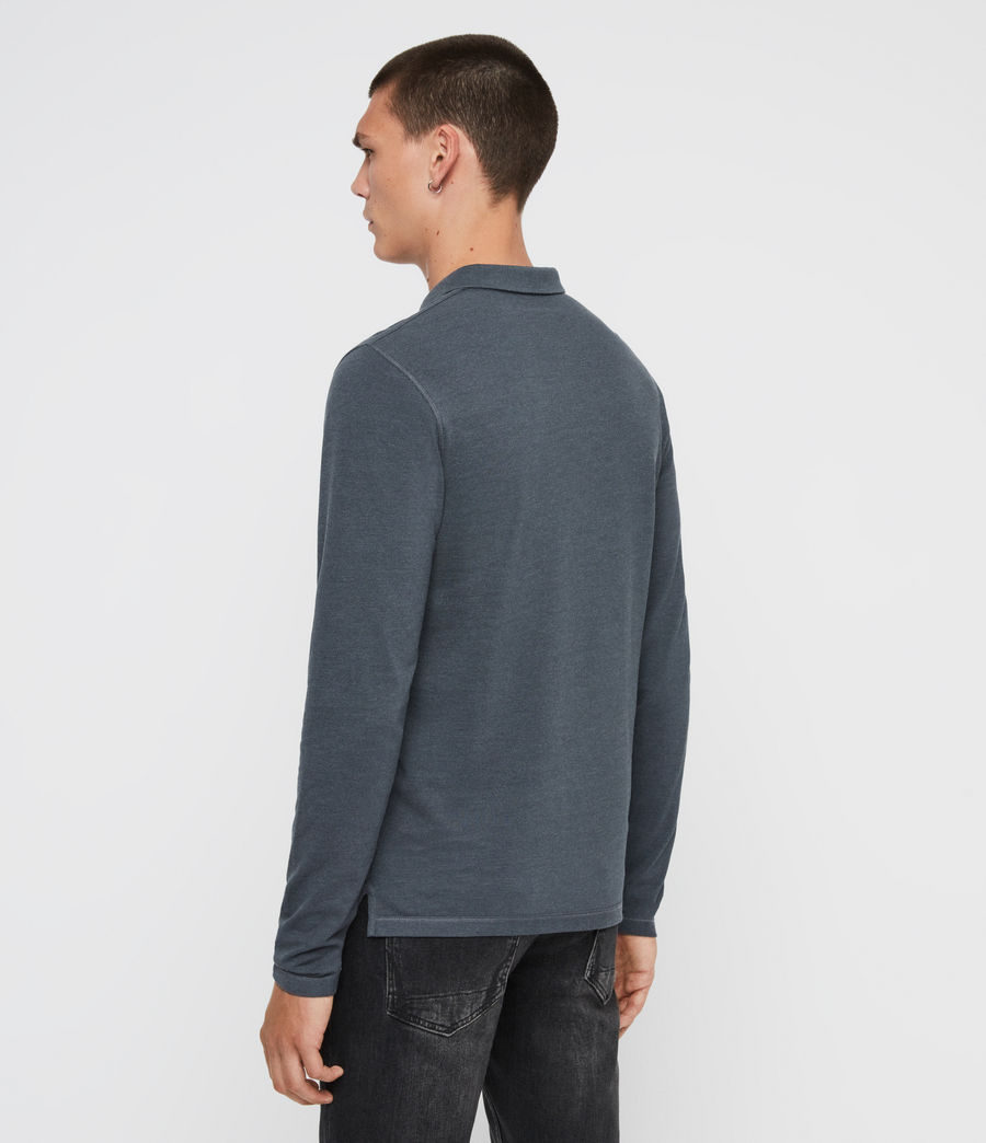 Hommes Reform Long Sleeve Polo Shirt (pier_blue_marl) - Image 5