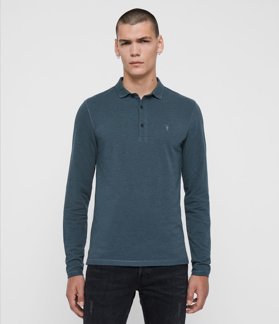 Herren Reform Long Sleeve Polo Shirt (teal_blue_marl) - Image 1