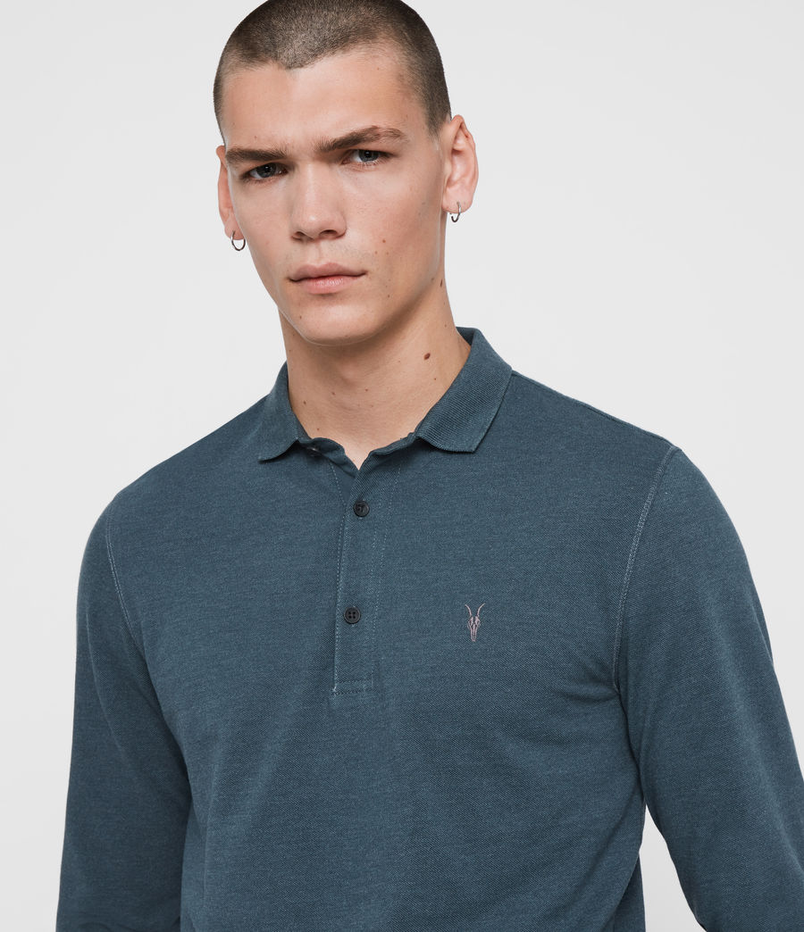 Herren Reform Long Sleeve Polo Shirt (teal_blue_marl) - Image 2