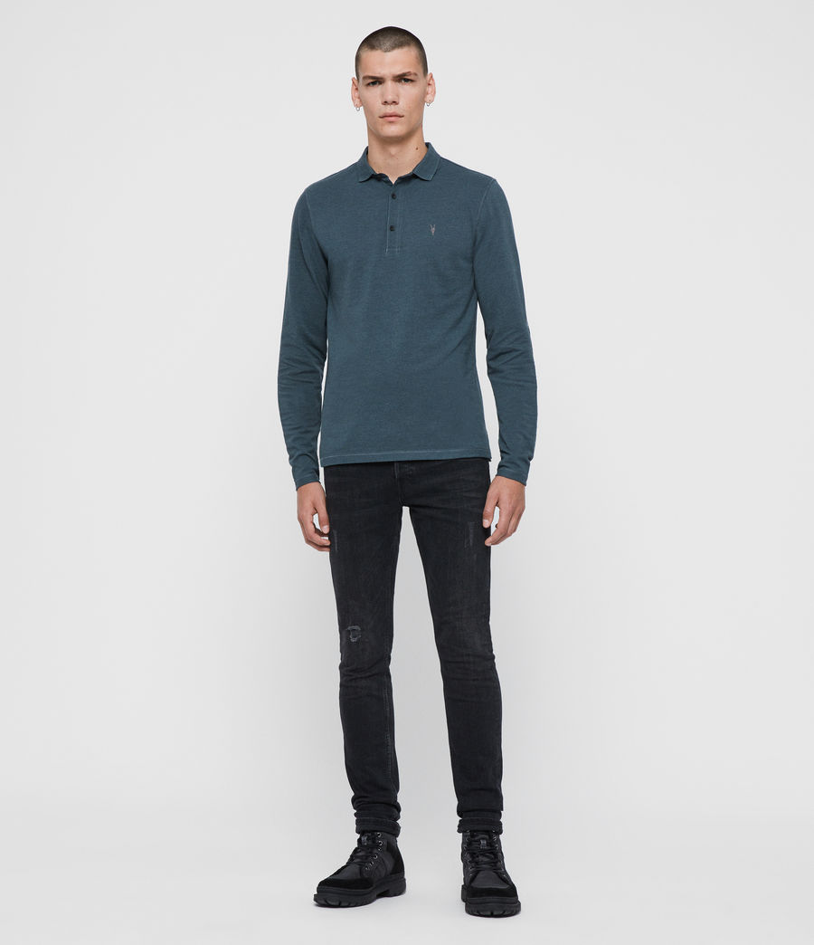 Herren Reform Long Sleeve Polo Shirt (teal_blue_marl) - Image 3