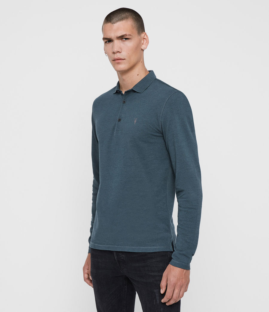 Herren Reform Long Sleeve Polo Shirt (teal_blue_marl) - Image 4