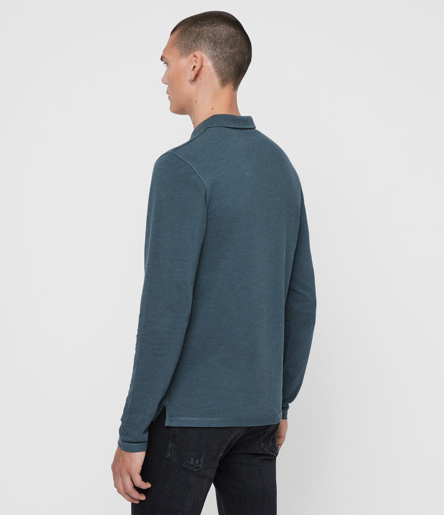 Herren Reform Long Sleeve Polo Shirt (teal_blue_marl) - Image 5