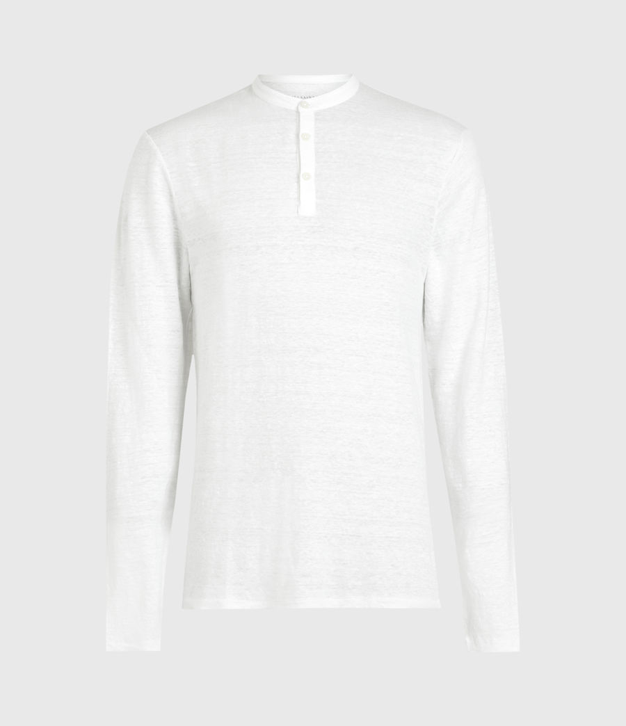 Mens Avery Linen Henley (optic_white) - Image 1