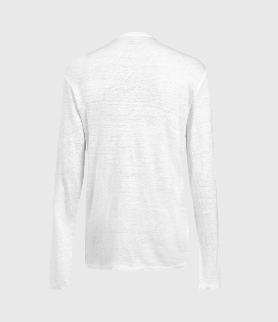 Mens Avery Linen Henley (optic_white) - Image 2
