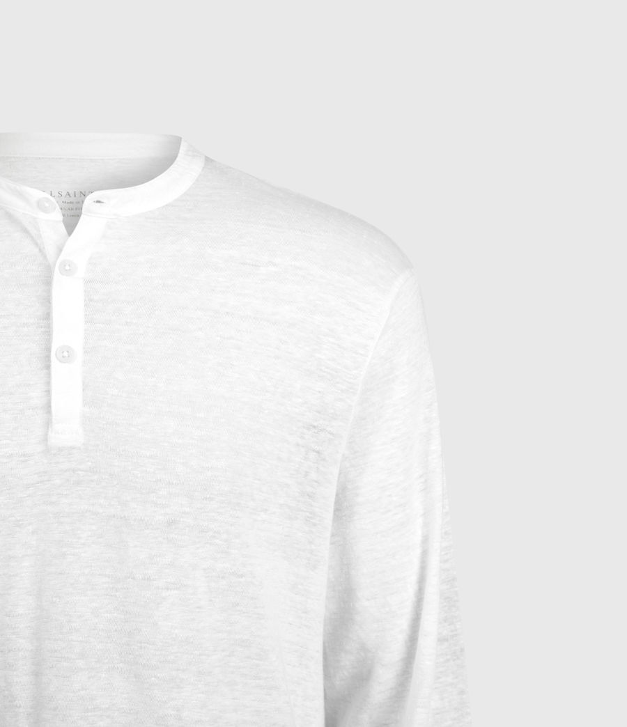 Mens Avery Linen Henley (optic_white) - Image 3