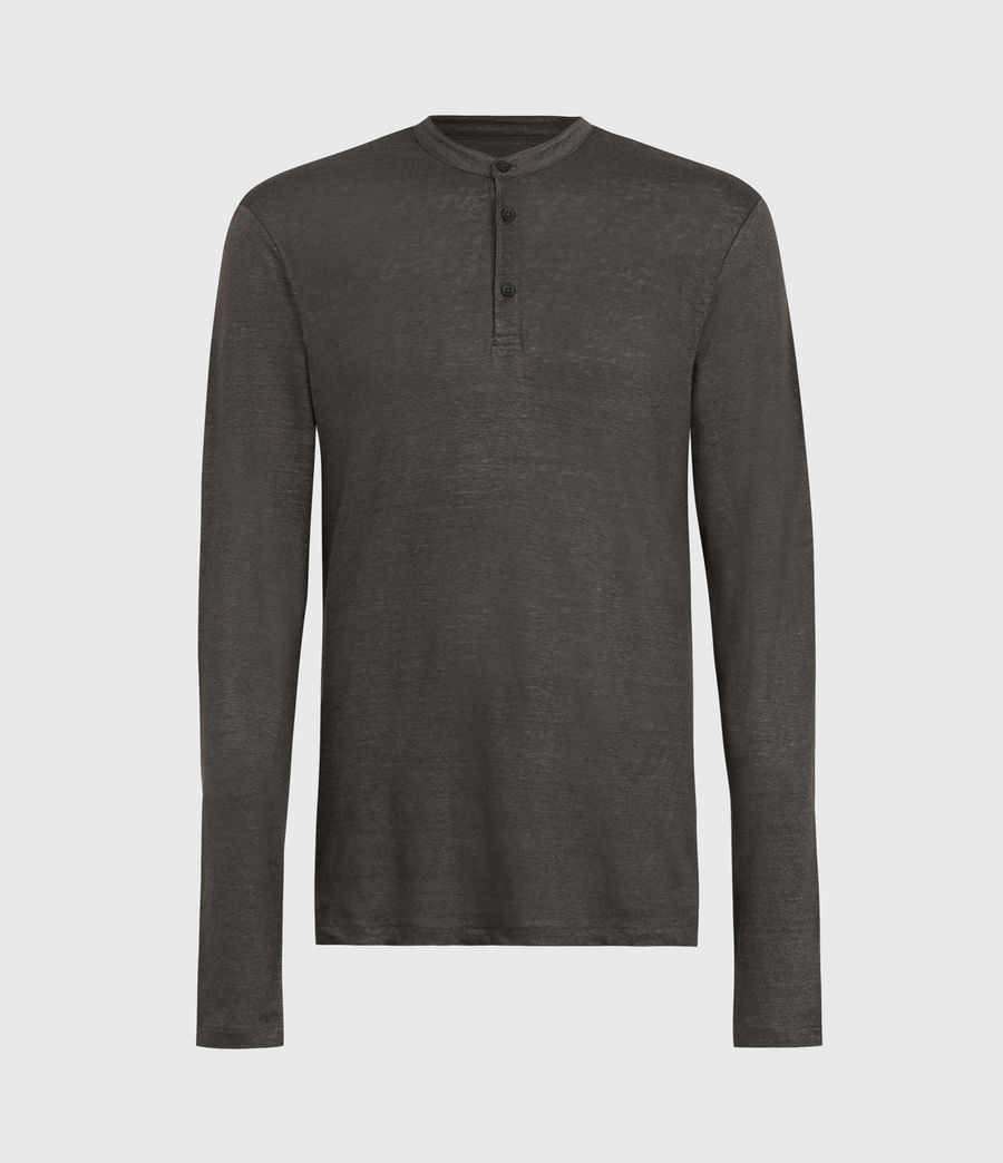 Mens Avery Linen Henley (sidewalk_grey) - Image 1