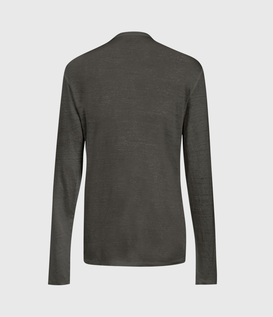 Mens Avery Linen Henley (sidewalk_grey) - Image 3